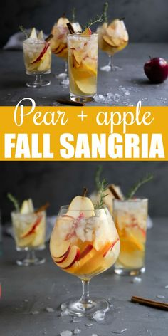 Pear and Apple Fall Sangria Recipe- filled with fall's most iconic flavors, this delicious and refreshing white wine fall sangria is filled with sweet apples, pears, oranges, and cinnamon. Fall Sangria, Apple Sangria, White Wine Sangria, Fall Cocktails, White Wines, Red Wine, Sangria Recipes, Cocktail Recipes, Margarita Recipes