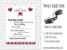 Household rules sign - personalize with your family name and edit the house rules to suit your family - then print on a poster or canvas and hang in your home! Free & instant download!