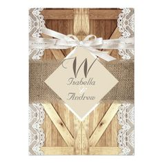 Lace Wedding Invitation Rustic Door Wedding Beige White Lace Wood Burlap Card
