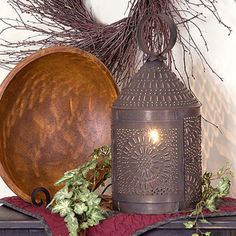 "15"""" Fireside Colonial Lantern with Chisel Pattern in Blackened Tin Finish"