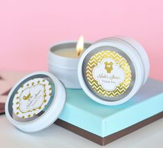 Metallic Foil Personalized Round Candle Tins - Baby