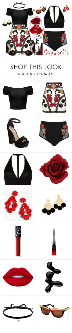"""The Dark Side Of Spring"" by tigerlilli ❤ liked on Polyvore featuring Dolce&Gabbana, Steve Madden, Jaded, Rick Owens, J.Crew, Elizabeth and James, NARS Cosmetics, Christian Louboutin, Lime Crime and Models Own"