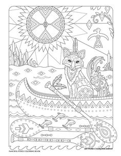 Native American Fox : Fanciful Foxes Coloring Book I Marjorie Sarnat Free Adult Coloring Pages, Cute Coloring Pages, Colouring Pics, Animal Coloring Pages, Coloring Pages To Print, Coloring Pages For Kids, Coloring Books, Coloring Sheets, Native American Crafts