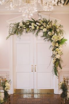 Wedding Flowers: Green and White Whimsical Woodland at Morrison House in Alexandria, Virginia