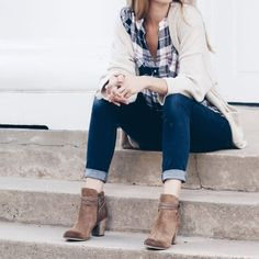 plaid, denim, sweater, booties, fall casual outfit