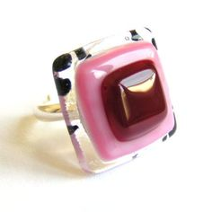 Pink-red squares fused glass ring  by Krilla Glass, via Flickr