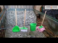 diy miniature cleaning tools for dollhouse - YouTube