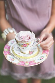 Treasures to Hold / Teacup and Rose  ~ Mauve ~ Pink
