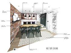 Croquis architecture intérieure-Réalisation Dominique JEAN pour EDECO Rénovation- Cuisine- carreaux de ciment- verrière - mur de brique.