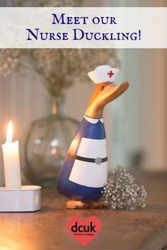 Meet our Nurse duckling! Hand carved and hand painted, she can be personalised with the name of your choice on her tag. A lovely gift to make anyone feel better! More characters available from The Duck Company, DCUK