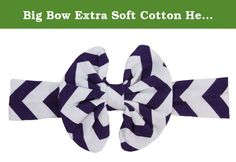 Big Bow Extra Soft Cotton Headband-Purple and White Chevron. This soft and adorable headband is the perfect piece to complete any outfit! No muss/No fuss, simply slip on over babys head for a comfortable one-size-fits-all classic headband. These headbands are the perfect addition to your little girl's accessory collection and would work just as well for trendy moms! Wholesale Princess - Where Adorable Meets Affordable. We also have a huge selection of matching Boutique Outfits, Tutu Gift...