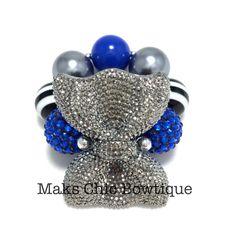 Toddler Diva Bow Bling Chunky bracelet, Dark Grey, Royal Blue, Black and White Striped chunky bow bracelet, Fall bracelet, OTT