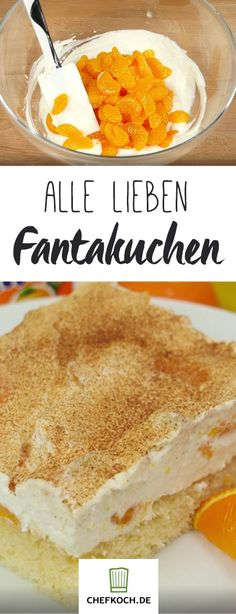 Fantasy cake with tangerine sour cream- Fantakuchen mit Mandarinen-Schmand Fast cake with cult status! Baking Recipes, Cookie Recipes, Snack Recipes, Dessert Recipes, Bread Recipes, Fall Desserts, No Bake Desserts, Law Carb, Fantasy Cake