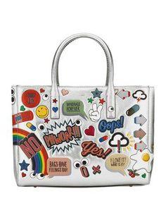 V30BK Anya Hindmarch Ebury Maxi All Over Wink Sticker Shopper Bag, Silver/Multi