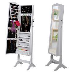 Songmics Armoire à bijoux Rangement avec Miroir et clés 158 x 41 x 38cm JBC82W: Amazon.fr: Cuisine & Maison