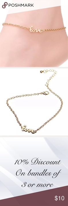 """📓Gold Love Anklet This anklet is made of nickel free gold alloy. It's secured by a lobster claw clasp. It measures 10"""" plus a 2"""" extender chain. Will fit most ankle sizes. #0901 Jewelry Bracelets"""