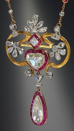 Diamond & Ruby, Heart, Pear, French, Antique, Vintage, Jewelry, Pendant, Circa 1900