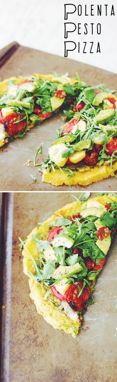 Polenta Pesto Pizza (vegan & gluten-free) ||| Brewing Happiness