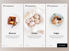 Onboarding - Catering Demand restaurant home ux ui catering food product onboarding mobile cards app You are in the right place about chat App Design Here we offer you the most beautiful pictures abou Ios App Design, Mobile App Design, Design Android, Web Mobile, Dashboard Design, Interface Design, Mobile Code, Mobile App Ui, Food Graphic Design