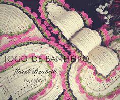 """Jogo de Banheiro """"Linha Floral Elizabeth"""" em Crochê HD"""