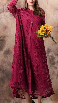 9f72f732169 Women rose lace tunic Boho Shirts stand collar Jacquard Maxi Summer Dresses.  Omychic Linen Dress