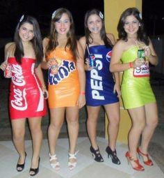 Group Picture : Coca Cola, Fanta, Pepsi Soft Drink Dresses \\ Halloween Costume