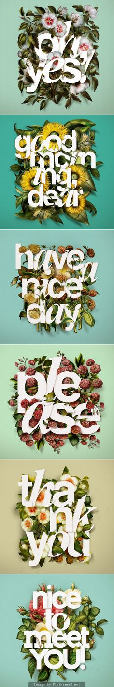 Intriguing flower #type #illustration that would work beautifully in editorial layouts.