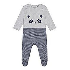 bluezoo - Baby boys' grey panda applique sleepsuit