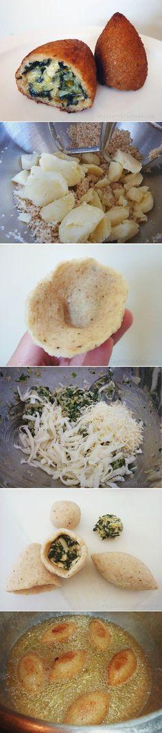 How-To Make KIBBET BATATA, Yukon-Gold Potato Kibbeh with Artichoke, Spinach + Cheese #mezze #vegetarian 