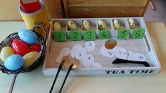 Paaseieren cijferherkenning en stippen tellen. Dienblad vd Action
