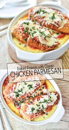 Baked Polenta with Classic Chicken Parmesan is a must-have weeknight dinner recipe. | www.cookingandbeer.com