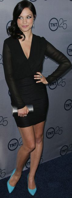 Alexis Knapp carrying the Inge Christopher Enoshima Minaudière in Pewter while attending the 2013 TNT 25th Anniversary Party in Beverly Hills