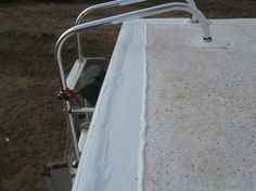 """RV Roof Seal Tips by Eddie - http://rvhappyhour.com/rv-roof-seal-tips-eddie/ - I just got off the roof doing maintenance on the EPDM rubber roof back seams. The factory seal is a trim rail with a wide bead of """"Dicor"""" sealant for the joint between the rubber roof and fiberglass nose cone in the front and the rear fiber glass wall is the same way. Some of you know we had to replace the entire back end of our camper last winter due to water damage. #RV #Tips"""
