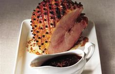 Spiced marmalade glazed gammon with Cumberland sauce