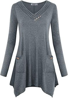 New MOQIVGI Womens Long Sleeve Cowl Neck Asymmetrical Hem Flowy Tunic Tops with Pockets Womens Clothing. [$16.99] topusbestsellers offers on top store