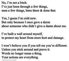 No, I'm Not A Bitch. I've Just Been Through A Few Things, Seen A Few Things, Been There & Done That. Yes, I Guess I'm Cold Now. But Only Because I Once Gave A Damn About Someone Who Didn't Give A Damn About Me. I Built A Wall Around Myself, To Protect Me Heart From More Hurt & Damage. I Won't Believe You If You Tell Me You're Different. Unless You Stick Around & Prove It. Words No Longer Mean A Thing, Your Actions Mean Everything.