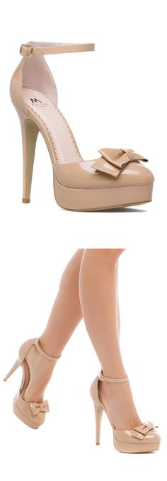 Nude Bow Stiletto Heels