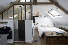 11 converted attic bedrooms to inspire you. Amazing transformations that prove we all need a bedroom in the attic. For more converted bedroom and attic bedroom ideas go to Domino. Attic Bedroom Decor, Attic Bedroom Designs, Small Space Bedroom, Attic Bedrooms, Attic Design, Budget Bedroom, Attic Bathroom, Bedroom Loft, Home Design