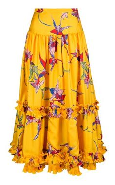 Salsa ruffled silk skirt by La DoubleJ Maxi Skirt Outfits, Long Maxi Skirts, Mustard Yellow Outfit, Hijab Style, Dress Clothes For Women, Yellow Fashion, Silk Skirt, Cute Dresses, Ready To Wear