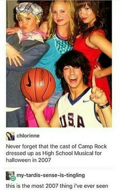 Oh my god the Camp Rock cast dressed as the High School Musical characters!!