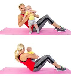 twists how to do a Use Your Baby to Lose Your Baby Weight: 18 Moves For Mom & Baby Looking to drop the baby weight? Try these 18 moves that you can do at home with your baby. Sponsored by American Express. Mama Baby, Mom And Baby, Mommy And Me, Post Baby Workout, Mommy Workout, Yoga Inspiration, Baby Yoga, Baby Gym, Post Baby Body