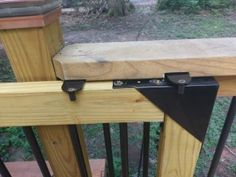 I've never been a fan of swinging deck gates; they take up too much room and they always wind up sagging no matter how well they are built and supported. So since we extended our deck last summer… Porch Gate, Deck Gate, Stair Gate, Deck Stairs, Deck Railings, Front Porch, Front Deck, Gate Design, Deck Design