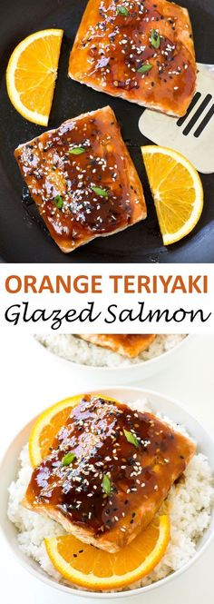 20 Minute Orange Teriyaki Salmon. Salmon filets pan fried and topped with an orange teriyaki glaze. A quick and easy weeknight meal! | chefsavvy.com #recipe #orange #teriyaki #salmon