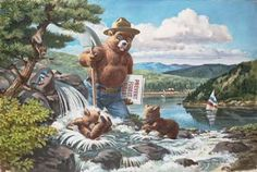 Painting of Smokey Bear walking through a stream while holding a shovel in one hand and some signs in the other. There are two cubs playing ...