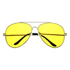 Night Driving Yellow Lens Metal Large Aviator Sunglasses Shades A1320