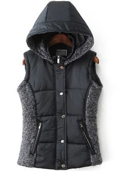 Navy Blue Plain Hooded Vest