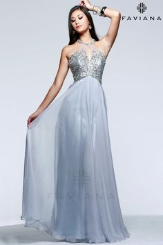 Faviana 7558 Silver Bead Detailing Prom Dresses 2015
