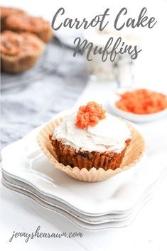 Carrot Cake Muffins. Tender and lightly sweetened muffins packed with good-for-you ingredients like carrot, walnuts and raisins. These healthy muffins are made with fiber and protein-rich almond flour and whole wheat flour plus omega-3 fats from the walnuts and flax seed, so you can feel good about making them often for your family when that carrot cake craving hits. A simple cream cheese frosting adds additional deliciousness. #carrotcake #carrotcakemuffins #healthymuffins #carrotmuffins