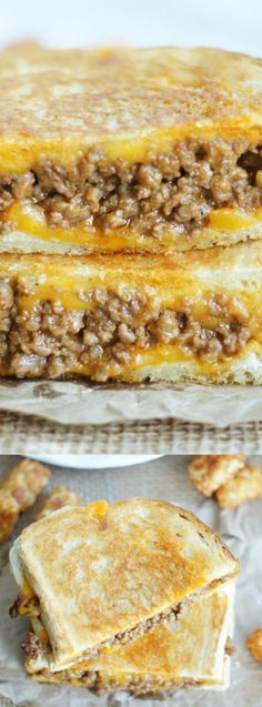 Sloppy Joe Grilled Cheese Sandwiches have all of the flavors of your favorite sloppy joe recipe that then gets grilled between 2 cheesy pieces of bread!