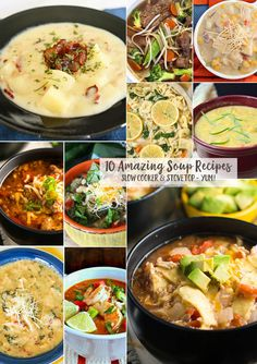 10 Amazing Soup Recipes that are the epitome of comfort food. Warm, hearty & positively delicious. So easy & sure to warm you up this winter. Slow cooker & stovetop versions-YUM!